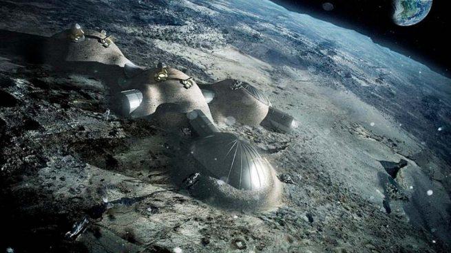 Representación artística de una base en la Luna