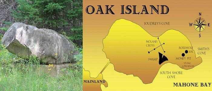 Izquierda: uno de los puntos de la Cruz de Nolan, marcado por una gran roca. Derecha: mapa de la Isla de Oak, señalando la Cruz de Nolan