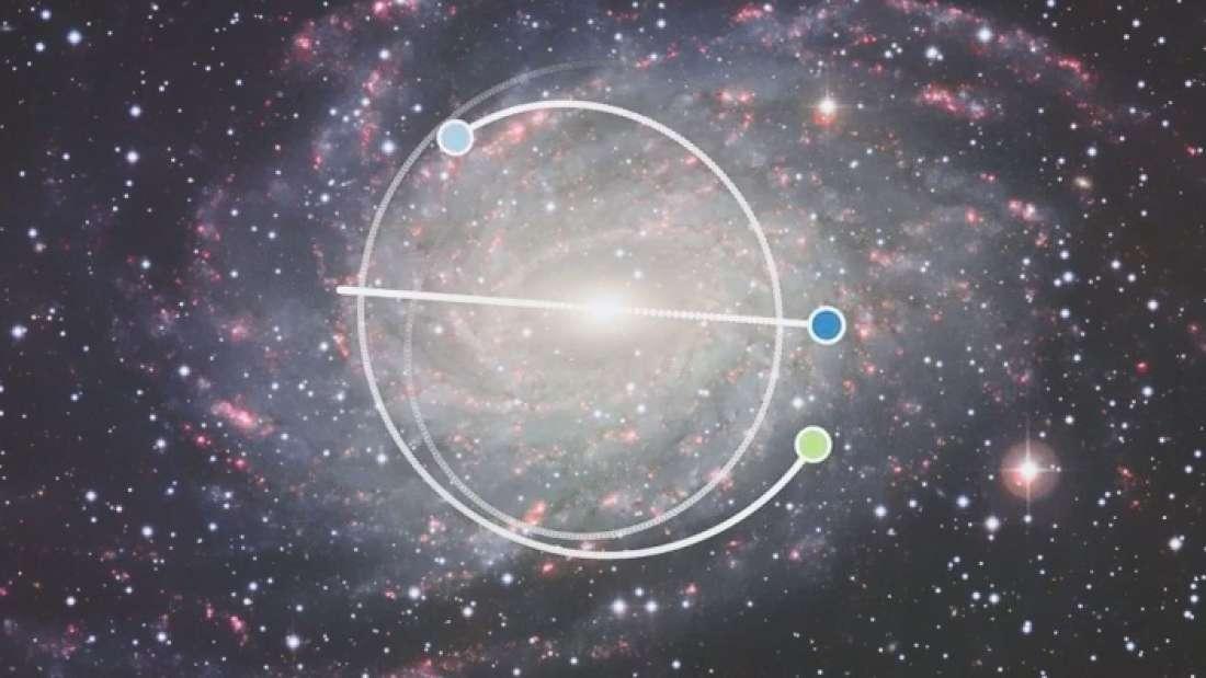 Una comparación de las órbitas del Sol (verde), la muy antigua 2MASS J18082002–5104378 (azul claro) y otra estrella muy antigua CD 38-245 (azul oscuro) muestra que la trayectoria de J18082002–5104378 es muy similar a la del Sol. Lo que indica que ambos se formaron dentro del disco galáctico