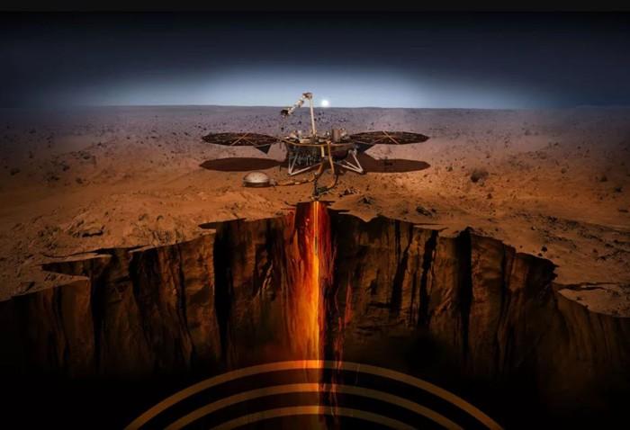Representación artística del módulo de aterrizaje InSight en Marte
