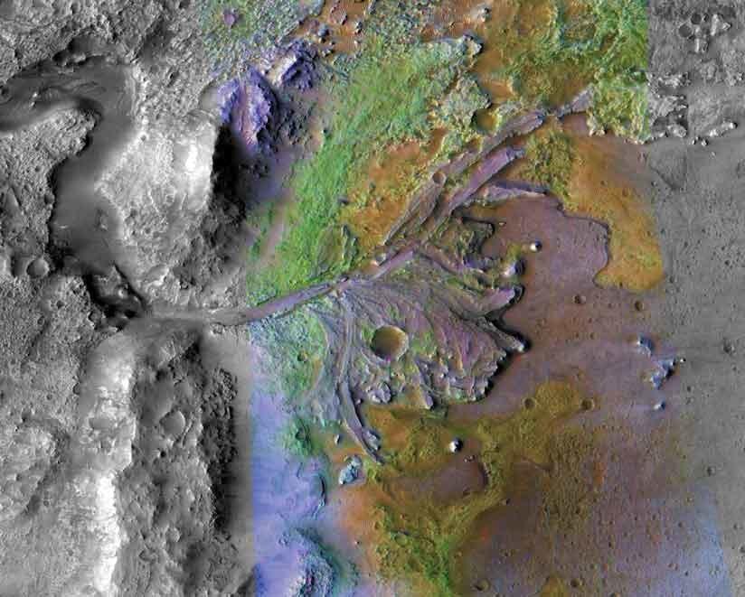 La imagen del cráter Jezero en la superficie de Marte, donde anteriormente hubo un lago