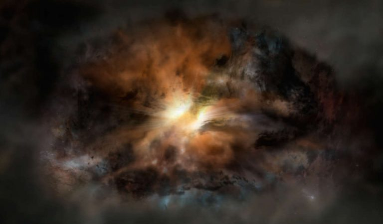 La galaxia más luminosa del universo está alimentando a su agujero negro con gas de otras galaxias