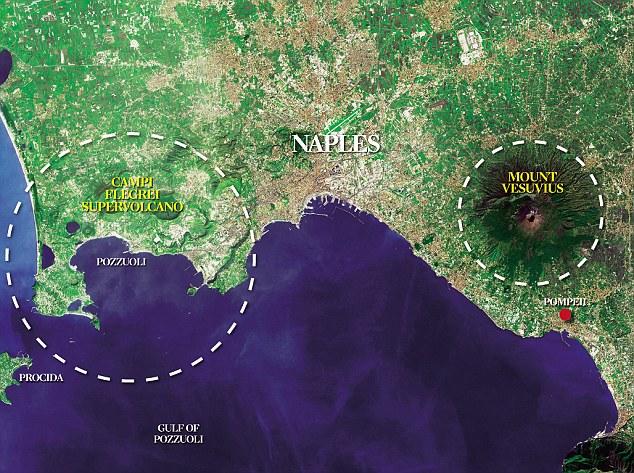 Mapa del supervolván Campi Flegrei (Naples)
