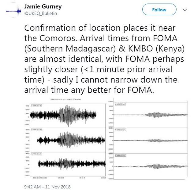 Un hilo de Twitter que atrajo la atención de la comunidad sismológica reveló por primera vez el extraño fenómeno en la mañana del 11 de noviembre