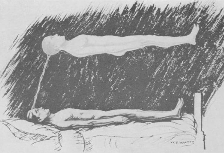 Ilustración del cuerpo astral (conciencia) separado del cuerpo físico, con el vínculo del cordón plateado