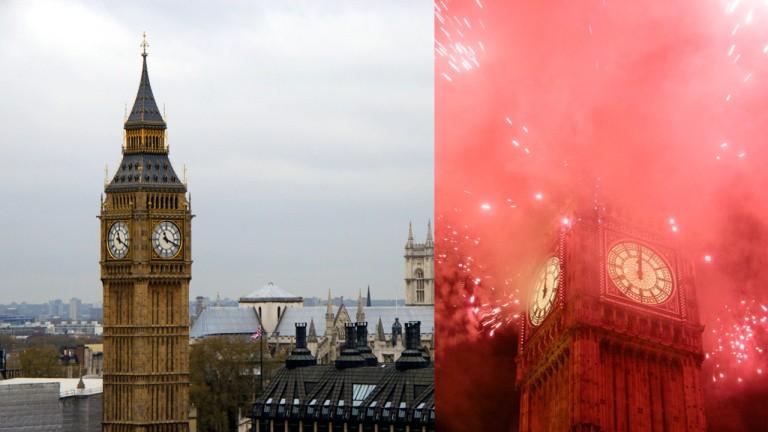Izquierda: el Big Ben y la Abadía de Westminster. Derecha: fuegos artificiales alrededor del Big Ben en Nochevieja