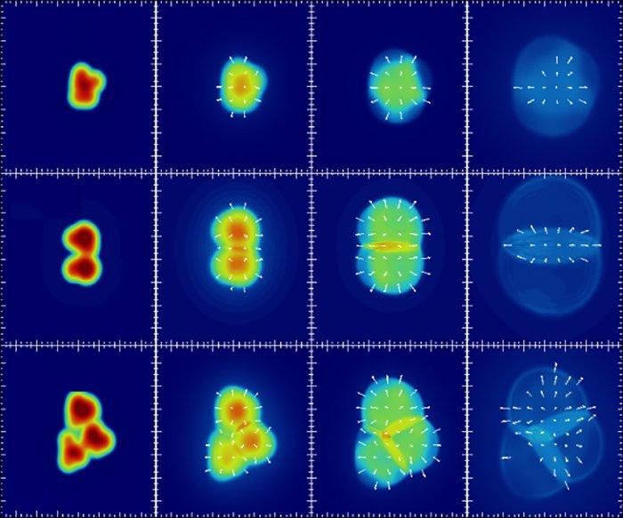Colisiones atómicas (izquierda) que producen las tres formas de plasma (derecha)