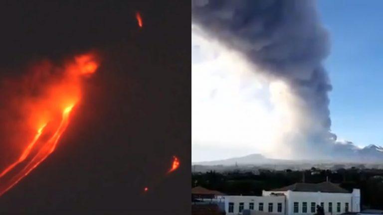 El monte Etna en Italia entra en erupción