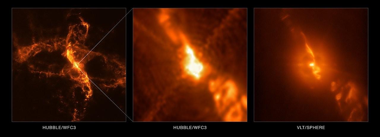 Comparación de las capturas realizadas con diferentes instrumentos del sistema estelar