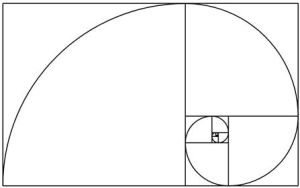 La espiral de Fibonacci: una aproximación de la espiral áurea generada dibujando arcos circulares conectando las esquinas opuestas de los cuadrados ajustados a los valores de la sucesión
