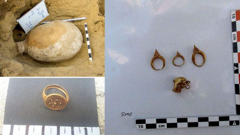 Hallan una colección de sarcófagos y anillos de oro en Egipto pertenecientes al período romano