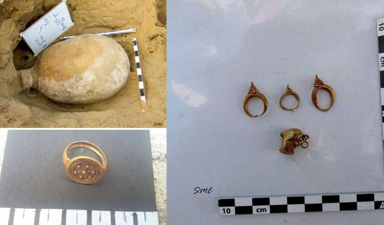 Hallan sarcófagos y anillos de oro en Egipto pertenecientes al período romano