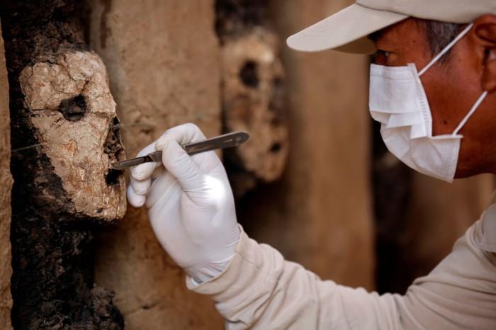 Las esculturas de madera antropomorfas dan la impresión de ser guardianes por sus ubicaciones simbólicas en el ingreso principal del Complejo Arqueológico Chan Chan. Decorado con relieves de barro, los ídolos están cubiertos con máscaras de arcilla blanca