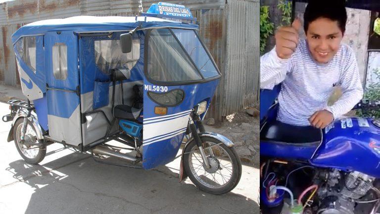 Joven ingeniero peruano usa agua en vez de combustible para impulsar una mototaxi