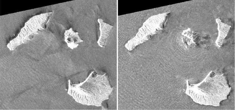 Imágenes satelitales de la Agencia de Exploración Aeroespacial de Japón muestran los cambios en Anak Krakatoa antes y después de la erupción
