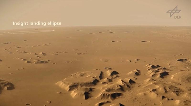 Mirando hacia abajo en Elysium Planitia, el área de Marte donde InSight de la NASA aterrizó el 26 de noviembre de 2018. Esta imagen es una animación creada con imágenes capturadas por la High Resolution Stereo Camera a bordo del orbitador Mars Express