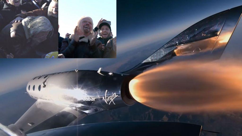 La nave de Virgin Galactic surcando el espacio y un Branson ¡emocionado hasta las lágrimas!