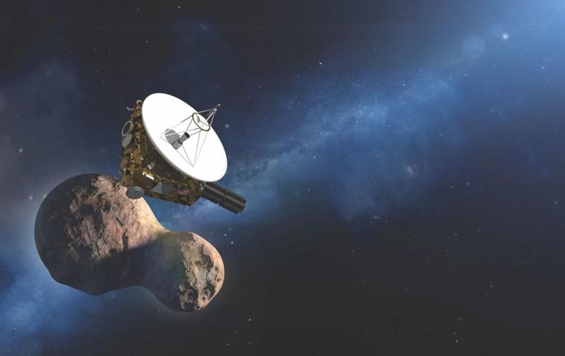 Representación artística de la nave New Horizons junto a Ultima Thule