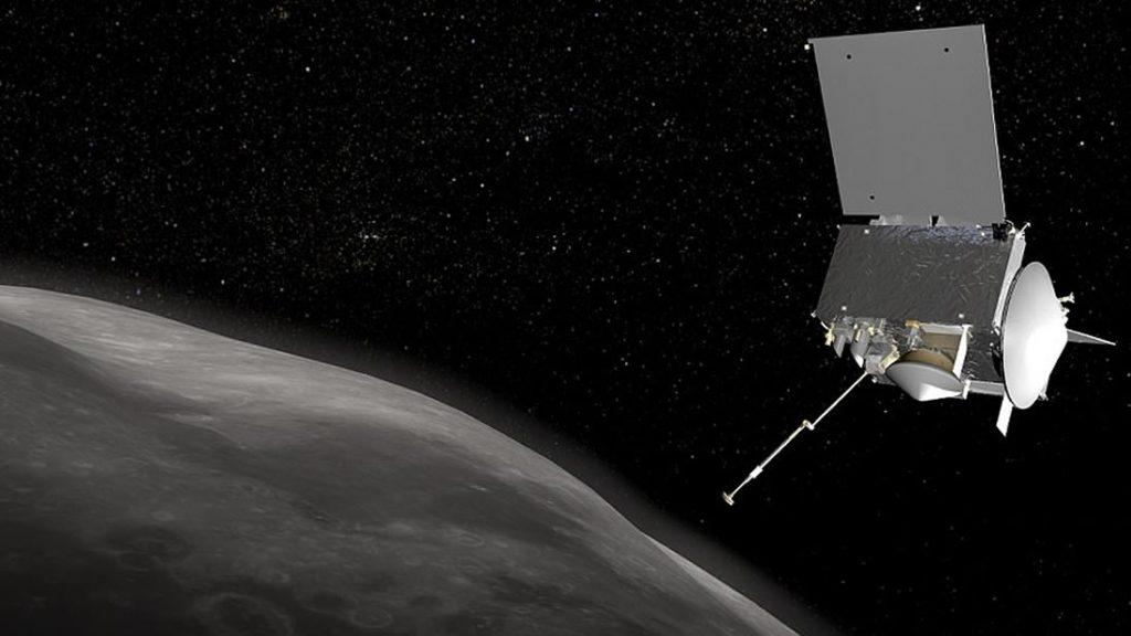 Representación artística de la nave OSIRIS-REx volando cerca del asteroide Bennu