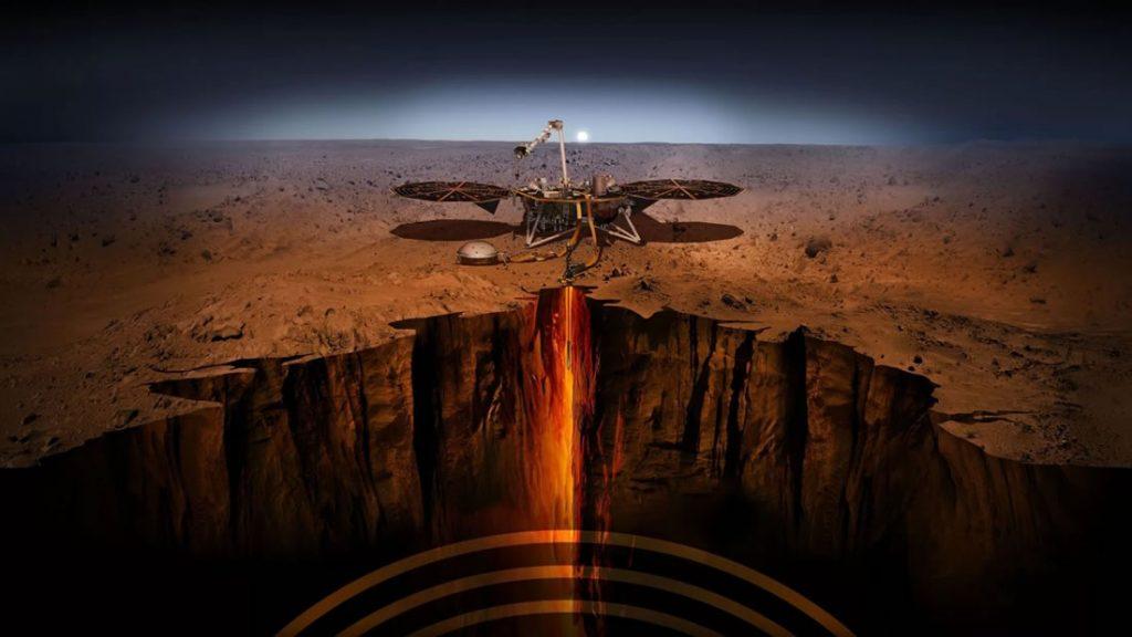 Representación del Insight lander sondeando el suelo de Marte