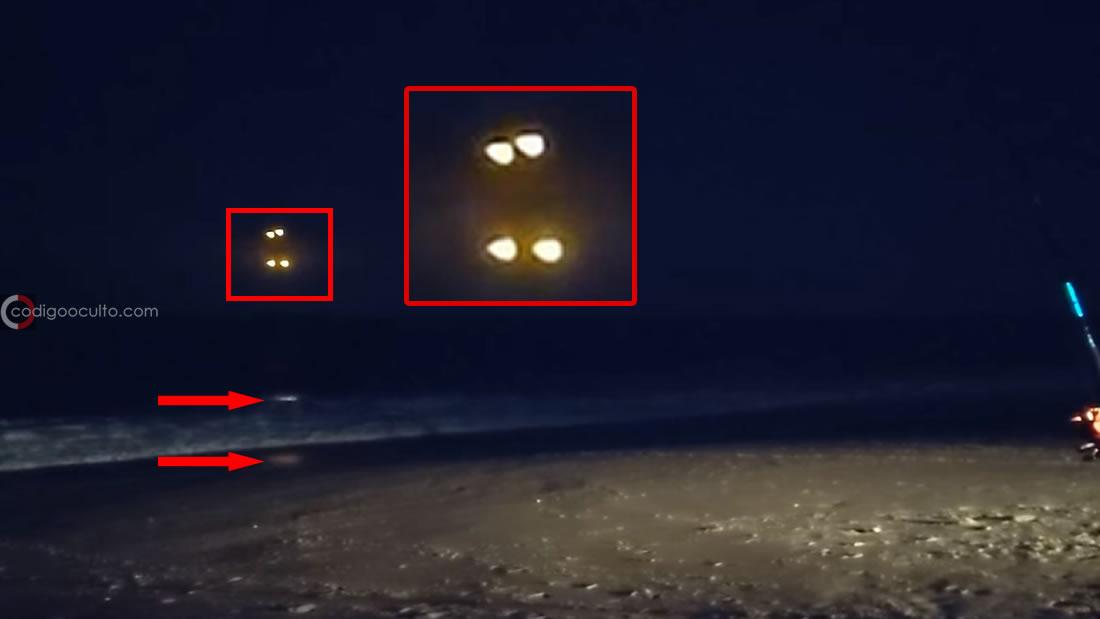Avistamiento en Carolina del Norte. Puede verse el reflejo de dos objetos luminosos, uno reflejado en el agua y otro en la orilla. No están muy separados entre sí, y se ve que no están tan alejados mar adentro