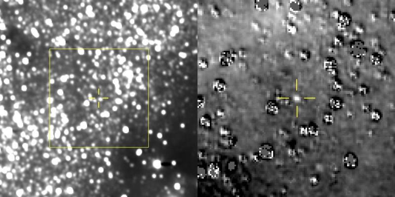 Nuestra mejor vista de Ultima Thule (entre las cruces amarillas) hasta ahora. La imagen de la derecha se ha ampliado y se han restado las estrellas de fondo de la imagen