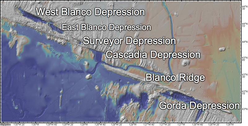 Versión etiquetada de la Zona de Falla de Blanco: mapa original generado con GeoMapApp
