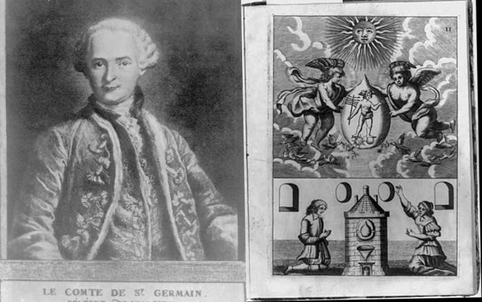 Izquierda: retrato del Conde Saint Germain. Derecha: dibujo de escena alquímica con la Piedra Filosofal