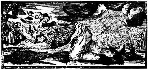 Xilografía de la transformación de un hombre lobo, similar a un Nagual