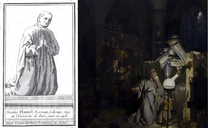 Izquierda: retrato de Nicolas Flamel. Derecha: «El alquimista descubriendo el fósforo», pintura del siglo XVIII