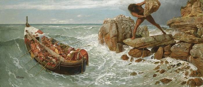 Odiseo y Polifemo, un cíclope. Pintura de Arnold Böcklin