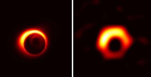 Simulación que muestra el aspecto del agujero negro central de la galaxia M87