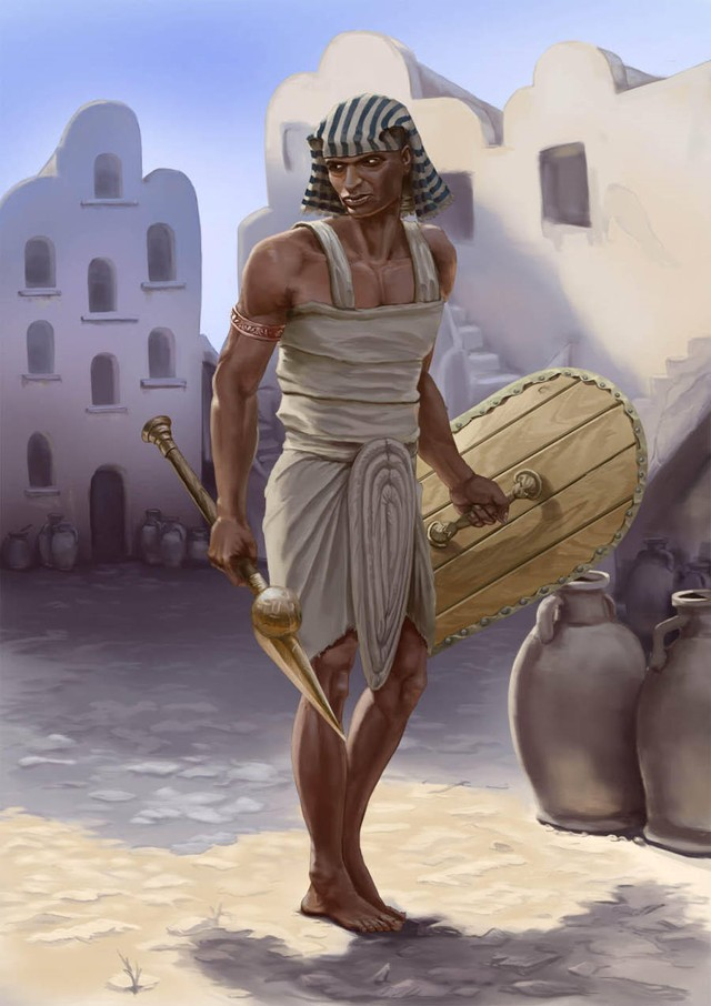 Representación artística de antiguo guerrero egipcio