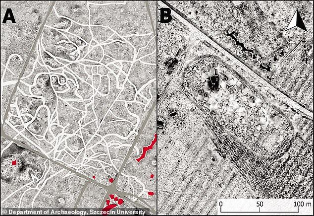 En Brzeznica Kolonia, por ejemplo, se vio un enorme campo de fútbol (derecha) en las imágenes a pesar de que la ubicación estaba en el centro de la primera. Y en Podborsko, una vez fuertemente custodiado, se hallaron incontables caminos en el suelo (izquierda)
