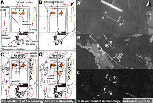A la izquierda, las imágenes de satélite espías estadounidenses desclasificadas muestran las tres bases nucleares soviéticas: de las bases nucleares soviéticas en: Podborsko (A), Brzeznica (B) y Kolonia (C). Después de ser abandonado como un sitio nuclear, Podborsko fue utilizado como un centro de detención del estado, por lo tanto se dejó intacto (derecha)
