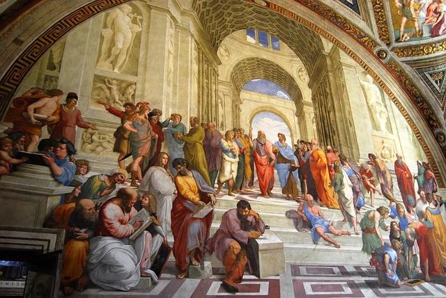 Platón y Aristóteles en el centro de la pintura La Escuela de Atenas