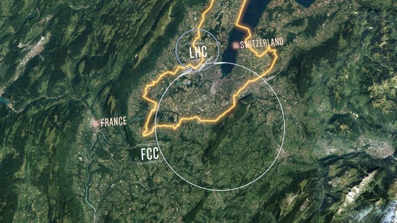 La disposición propuesta del futuro colisionador circular