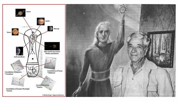 A la izquierda: representación de la huella dejada por el supuesto visitante venusino. A la derecha: George Adanski con una imagen de un supuesto alienígena de Venus