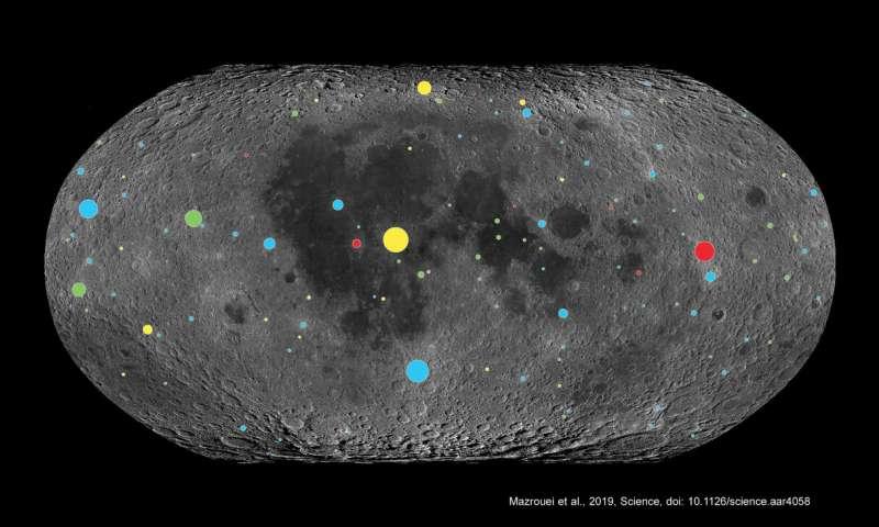 SwRI fue parte de un equipo que usó los datos de Lunar Reconnaissance Orbiter para estudiar los cráteres de la luna, en función del tamaño y el código de color según la edad aquí, para comprender la historia del impacto de la Tierra. La superficie lunar está dominada por cráteres azules menores de 290 millones de años, lo cual es consistente con los de la Tierra, lo que indica que los bombardeos en ambos cuerpos han aumentado desde entonces