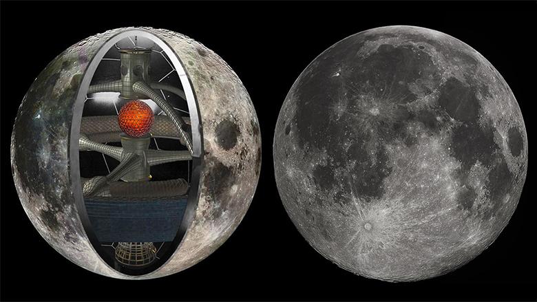 Izquierda: concepto artístico de la Luna como nave espacial. Derecha: fotografía de la Luna llena