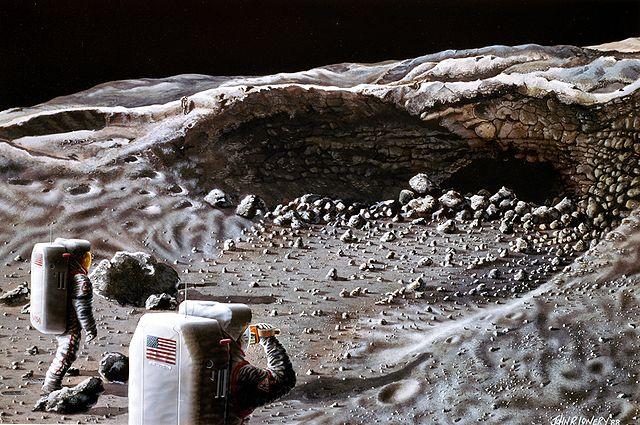 Ilustración de astronautas explorando una cueva de la Luna