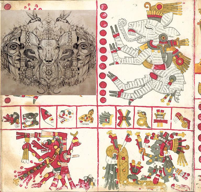 Nahuales descritos en el Códice Borgia. Izquierda arriba: imagen referencial de cambiaformas humano/animal (imagen montada)