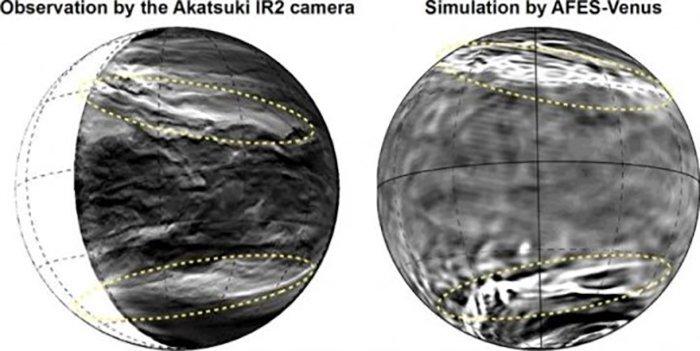Nubes de Venus, observadas y simuladas