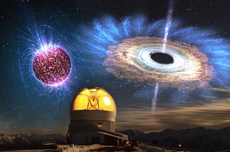 Esta imagen muestra una larga exposición del telescopio SOAR con ilustraciones superpuestas de una estrella de neutrones altamente magnetizada (arriba a la izquierda) y un agujero negro acrecentador (arriba a la derecha)