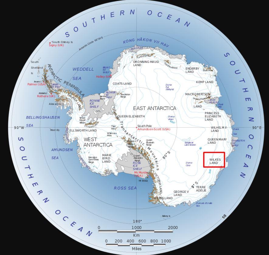 Ubicación de Wilkes Land (recuadro rojo) en la Antártida