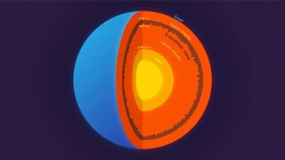 La sismóloga Jessica Irving de Princeton trabajó con el entonces estudiante graduado Wenbo Wu y otro colaborador para determinar la rugosidad en la parte superior e inferior de la zona de transición, una capa dentro del manto, utilizando olas de terremotos dispersos. Nota: Este gráfico no es a escala.