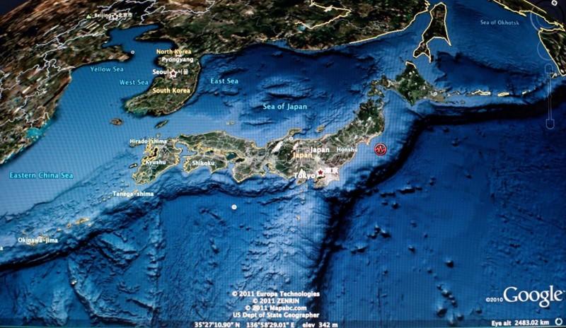 Un mapa satelital de Google muestra dónde se produjo el terremoto de Tohoku en 2011 en Japón