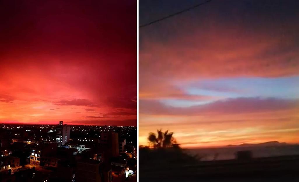 Un cielo de color rojo sorprendió a residentes en La Libertad y Lima el día 21 de febrero antes del anochecer