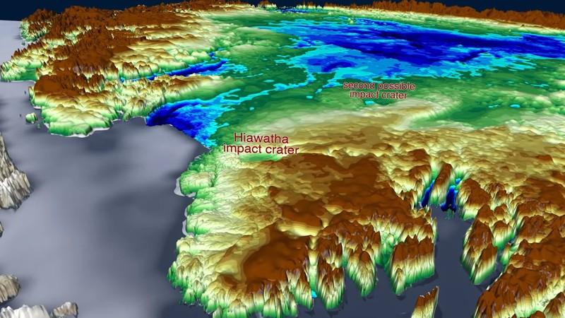 En la imagen se muestran los dos cráteres de impacto hallados hasta ahora en Groenlandia. El último, el cráter Hiawatha posee 36 kilómetros de ancho