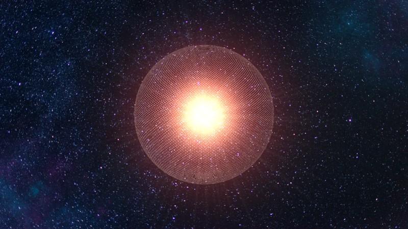 Representación de una esfera de Dyson o megaestructura alienígena